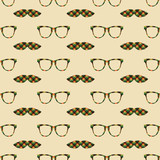 Glasses and mustache vector seamless pattern