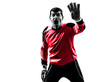 caucasian soccer player goalkeeper man silhouette