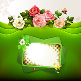 Green background with roses