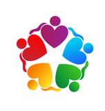 Teamwork hearts hugging logo vector