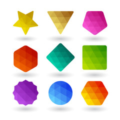 Set of design elements. Polygonal geometric shapes