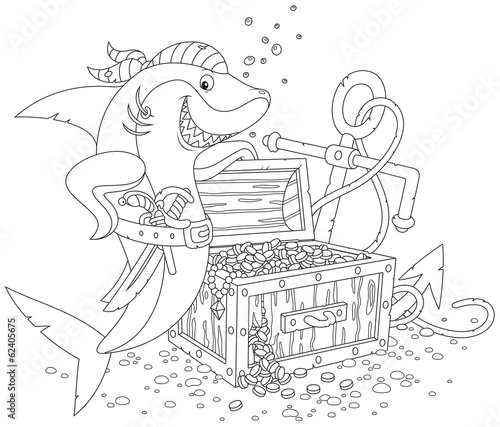 pirate shark with a treasure chest