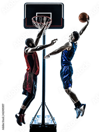 caucasian and african basketball players man jumping dunking sil