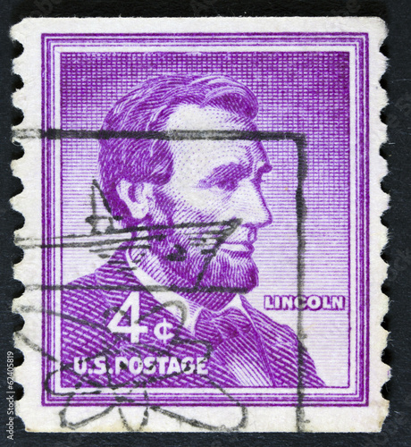 President Abraham Lincoln on a postage stamp