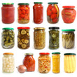 Selection of various vegetables canned in glass jars