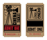 Retro cinema ticket, vector illustration