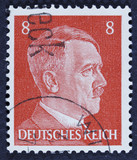 Stamp printed by the Germany Post is a portrait of Adolf Hitler.