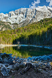 Frillensee lake  and Zugspitze - the highest mountain in Germany