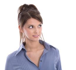 Gesicht einer jungen hübschen Business Frau freigestellt