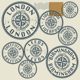 Grunge rubber stamp set with names of England cities