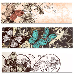 Business cards set in floral style with butterflies  for design