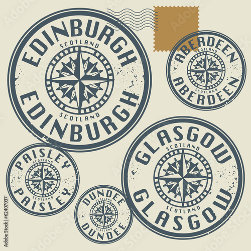 Grunge rubber stamp set with names of Scotland cities