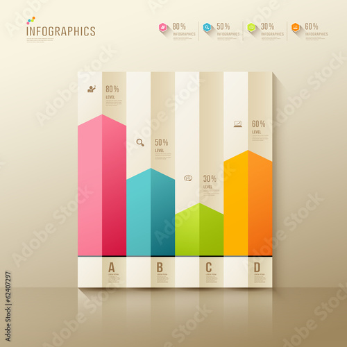 Colorful origami paper graph infographics, design