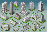 Fototapety Isometric Buildings City Map Vector