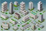 Fototapety Isometric Buildings City Map Vector