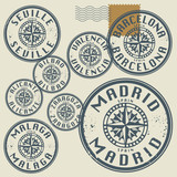 Grunge rubber stamp set with names of Spain cities
