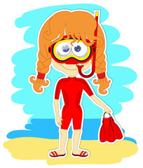 Funny girl in swimsuit and mask