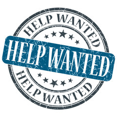 Help Wanted blue grunge round stamp on white background