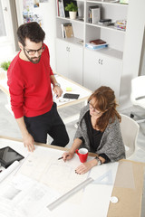 Business team in small architect studio
