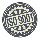 Abstract stamp or label with the text ISO 9001 written inside