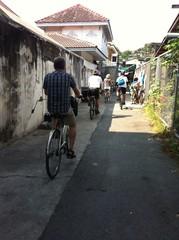 People riding a bike in Bangkok Thailand