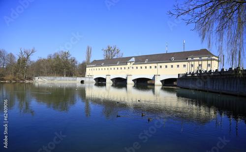 canvas print picture Wasserkraftwerk Isar Stauwehr Oberföhring bei München (2)