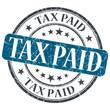 Tax Paid blue grunge round stamp on white background