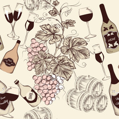 Seamless vector wallpaper design in vintage style with wine elem