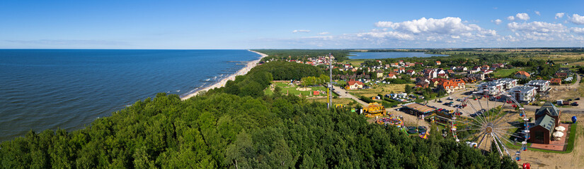 Panorama of baltics shore in Niechorze, Poland