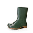 Green ruber boots on white background