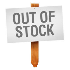 Out of Stock sign isolated on white background