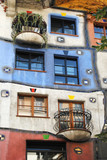 VIENNA – AUGUST 8: Facade of the Hundertwasser house in Vienna