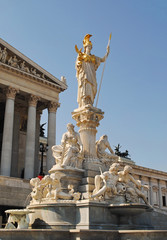 "The statue of ""Pallas Athena"" (greek goddess of wisdom) in front"
