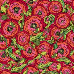 Rose flowers seamless vector pattern