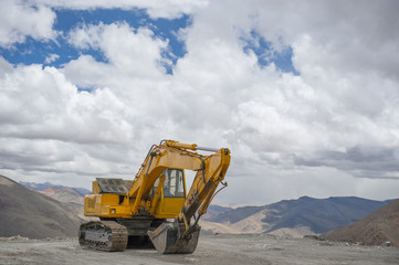 Excavator are work on highest mountain, Leh Ladakh