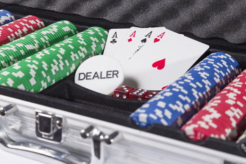 Poker case with cards and chips
