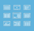 Different web browser icons set with page templates. Design elem