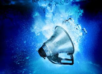 megaphone in water