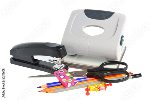 Office accessories isolated on white background