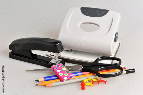 Office accessories on gray background