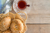 Turkish tea and sesame bagels