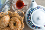 Fresh Turkish sesame bagels for teatime
