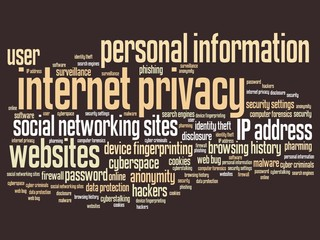 Internet privacy - word cloud concept