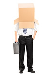 Businessman with a carton box on his head