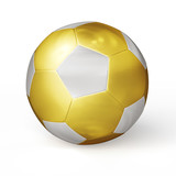 Golden soccer ball isolated