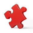 Single red puzzle piece isolated