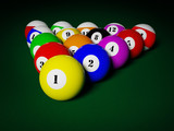 Billiards pool balls on table racked