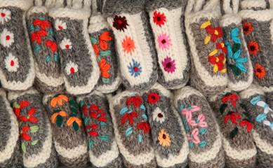 Colorful handicraft woolen slippers