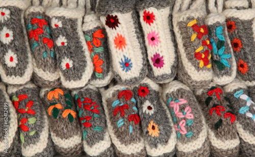Colorful handicraft woolen slippers