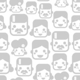 Seamless pattern with happy family faces.